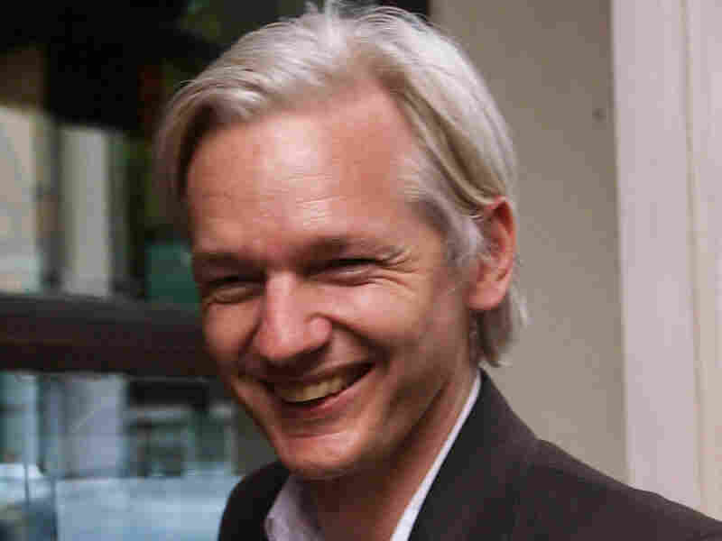 Julian Assange, founder and editor of WikiLeaks, faces the media during a debate event on July 27.