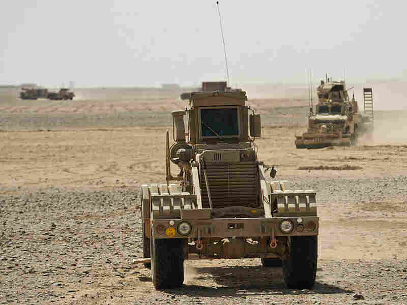 An Army Husky armored vehicle in Helmand province, Afghanistan, in February.