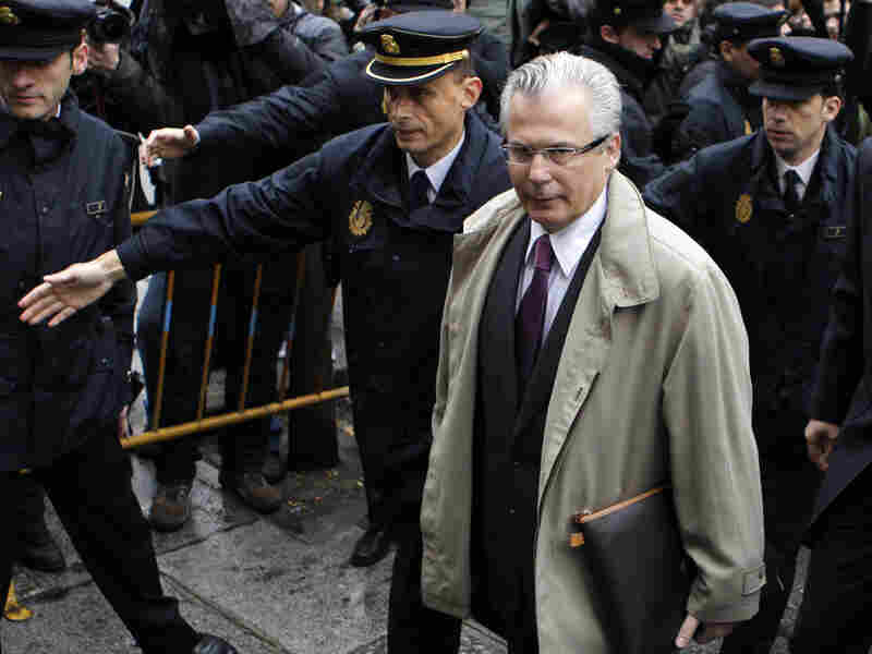 Spanish Judge Baltasar Garzon arrives at the Supreme Court in Madrid on April 15.