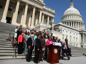 Speaker Nancy Pelosi and other House Democrats; July 28; in front of the Capitol.