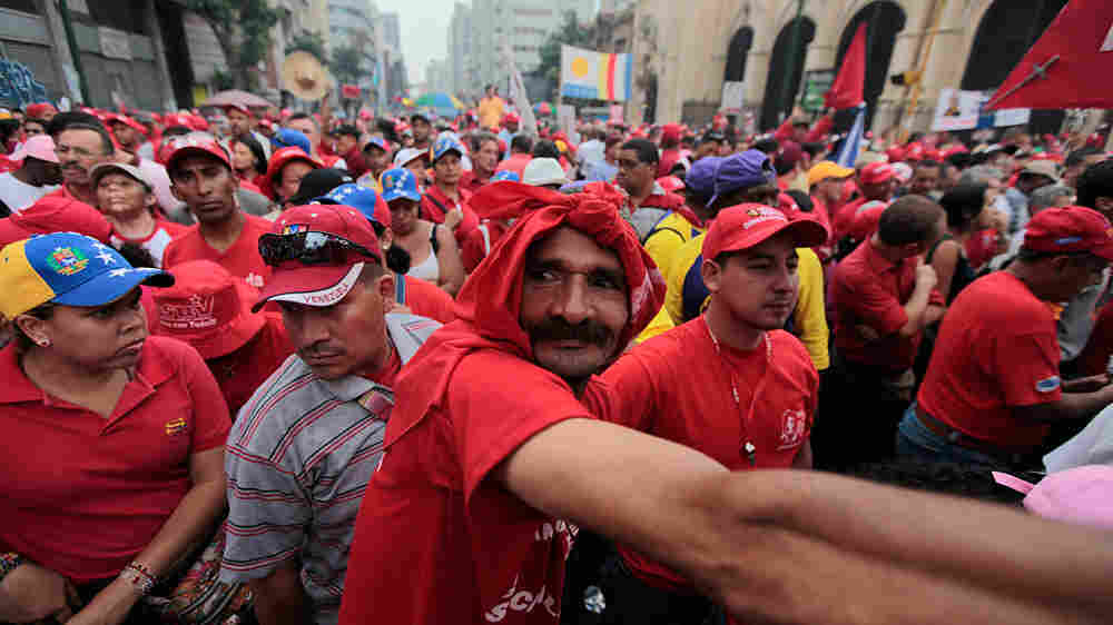 Supporters of Venezuela's President Hugo Chavez attend a rally