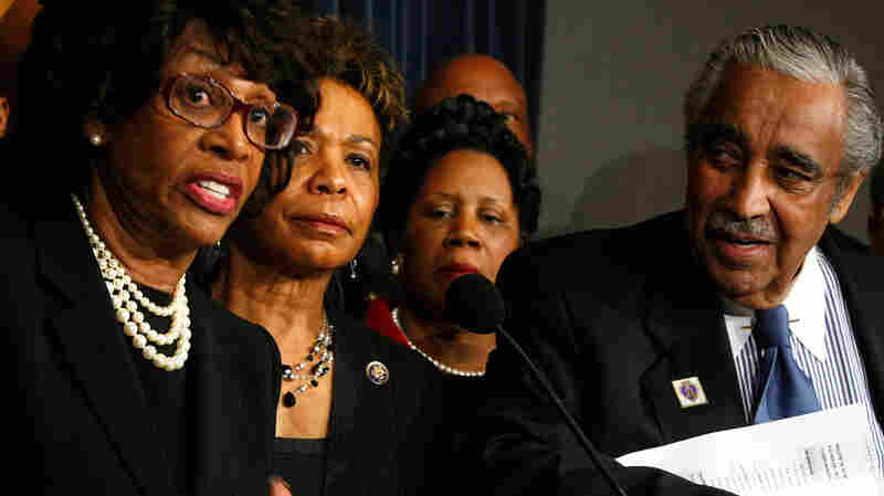 House members Maxine Waters, D-CA (at left) and Charles Rangel, D-NY.