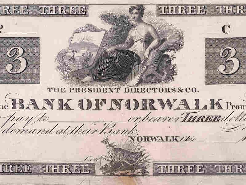 John James Audubon's print of a Heath Hen adorns a $3 note from the Bank of Norwalk.