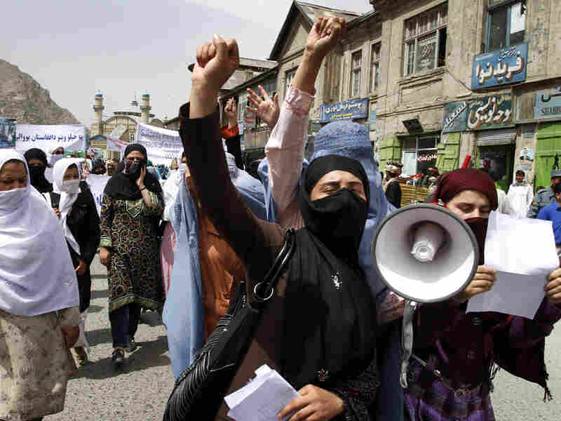 Afghan women chant slogans against NATO and U.S. forces in Kabul on Aug. 1.