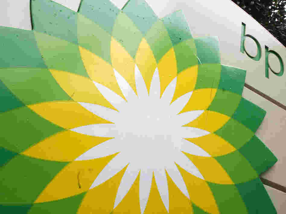 The current BP logo is displayed on a gas station sign in 2007.