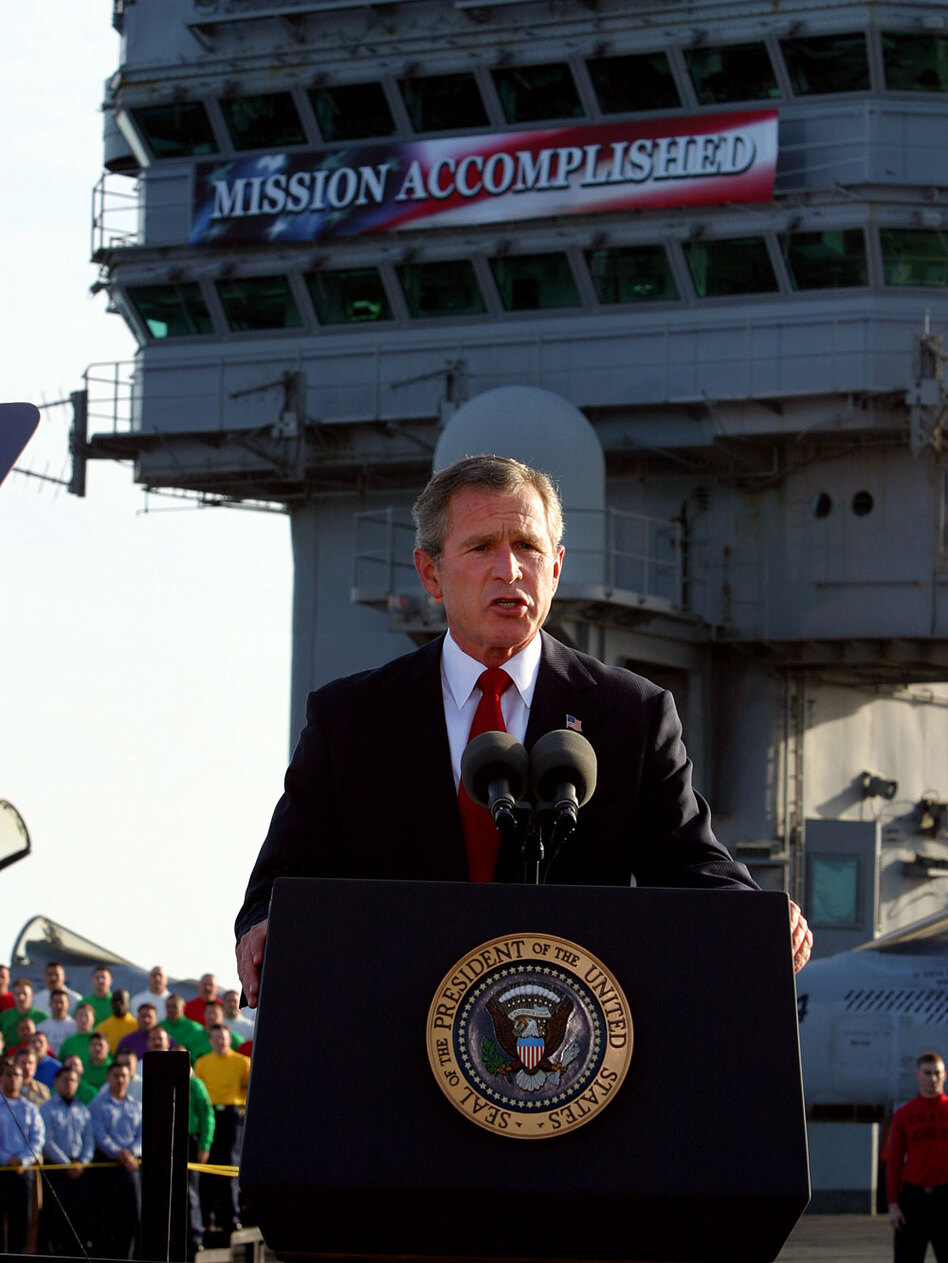 """As the Obama administration heralds good news on Iraq, the economy and the oil spill, it risks prematurely claiming victory -- as President Bush did in 2003 when he declared """"mission accomplished"""" in Iraq."""