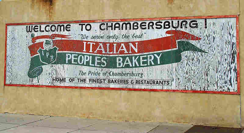 A mural painted on the side of Italian People's Bakery in the Trenton neighborhood of Chambersburg.