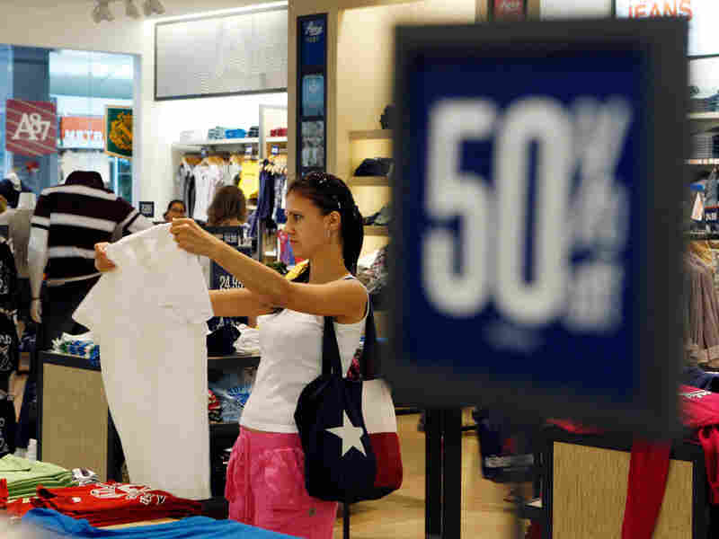 A shopper browses clothing at an Aeropostale store, in Paramus, N.J.