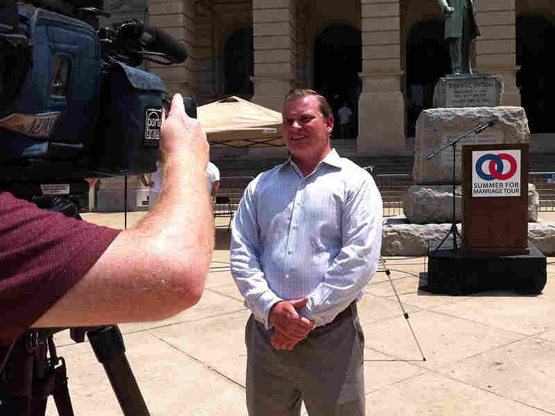Brian Brown, head of the National Organization for Marriage, speaks to an Atlanta news station.