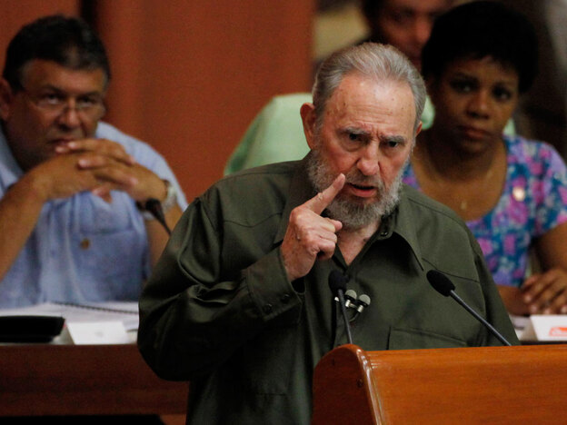Fidel Castro speaks during a special session of Cuba's parliament Saturday in Havana. The former Cuban leader, who turns 84 on Friday, is making near daily appearances in and around Havana -- four years after health problems forced him to cede power to his younger brother Raul.