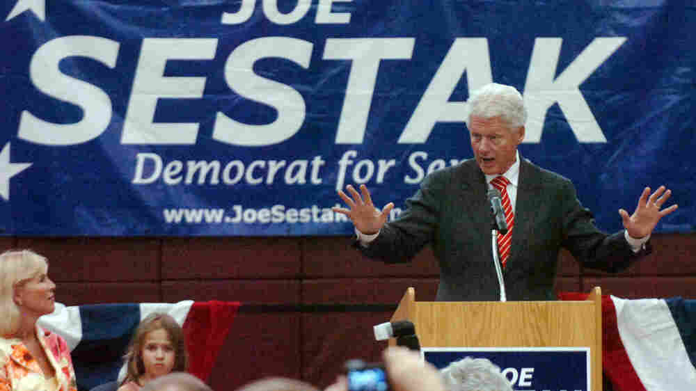 Former President Bill Clinton speaks at a rally for U.S. Senate candidate Joe Sestak.