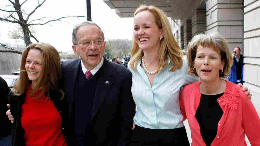 Former Alaska Sen. Ted Stevens and daughters (from left) Beth Stevens, Lily Stevens and Susan Covich