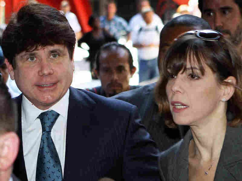 Former Illinois Gov. Rod Blagojevich and his wife arrive at court.