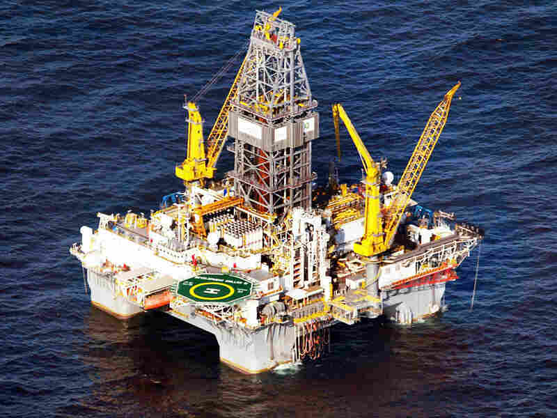 A drilling platform is seen near the site where the Deepwater Horizon oil platform in the Gulf.