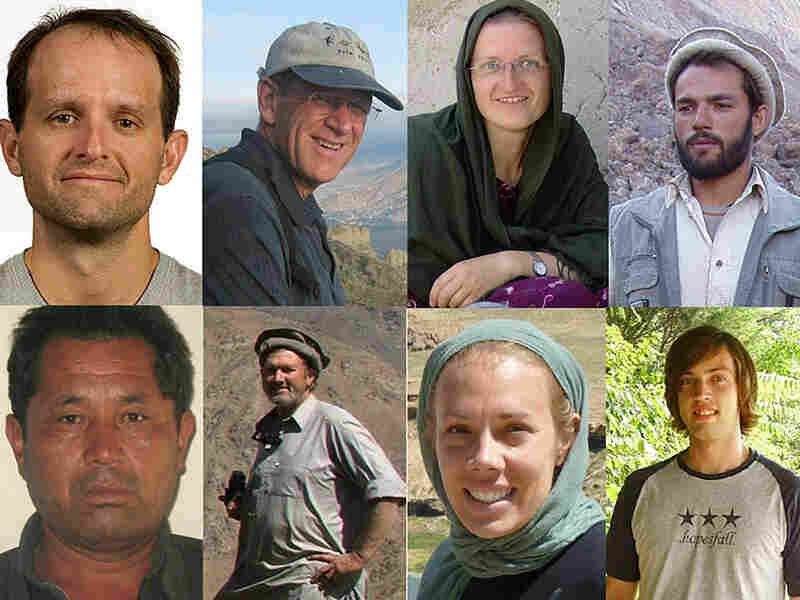 This International Assistance Mission image shows eight of the 10 workers slain in Afghanistan.