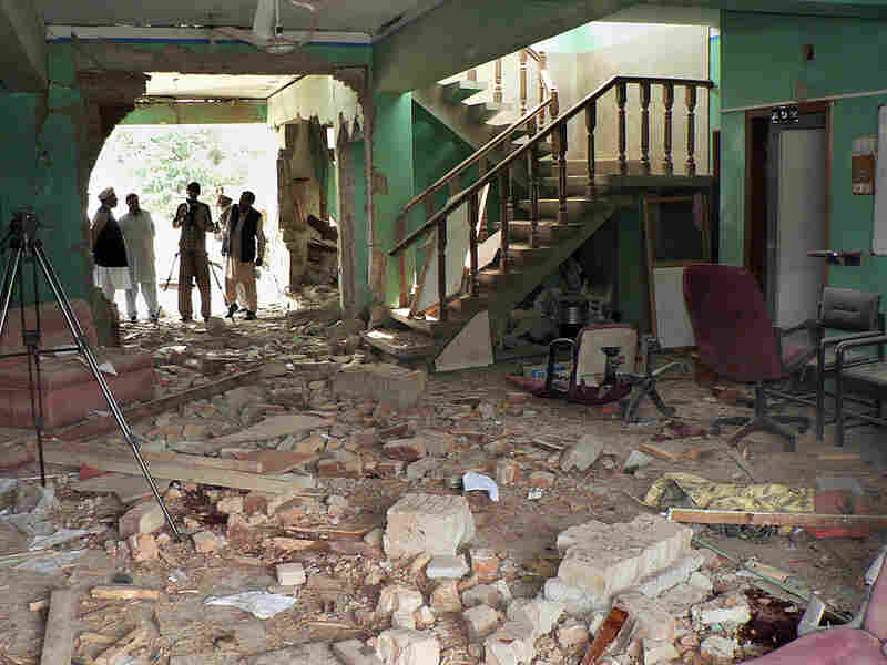 A World Vision office was shattered in a March attack by suspected militants in Ogi, Pakistan.
