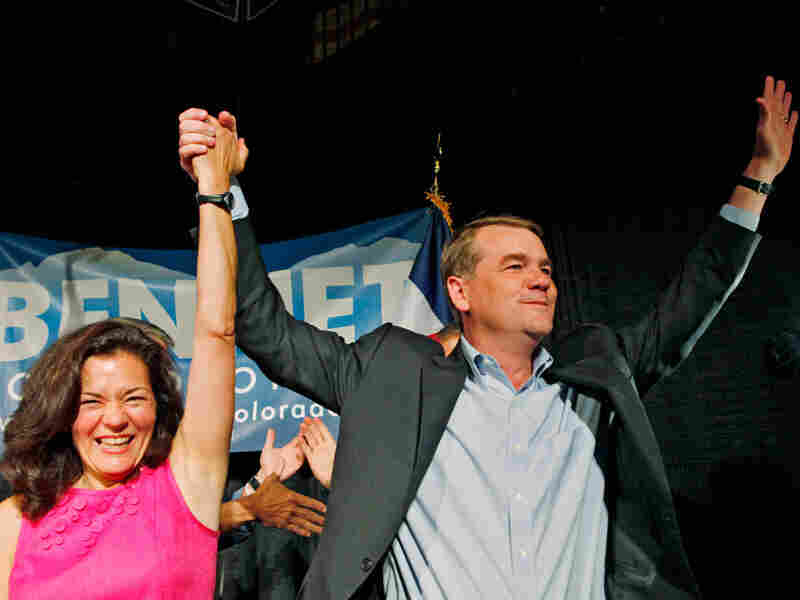 Sen. Michael Bennet (D-CO) celebrates his primary win with his wife, Susan Dagget.