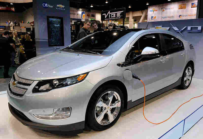 Chevy Volt on display at the 2010 Consumer Electronics Show in Las Vegas.
