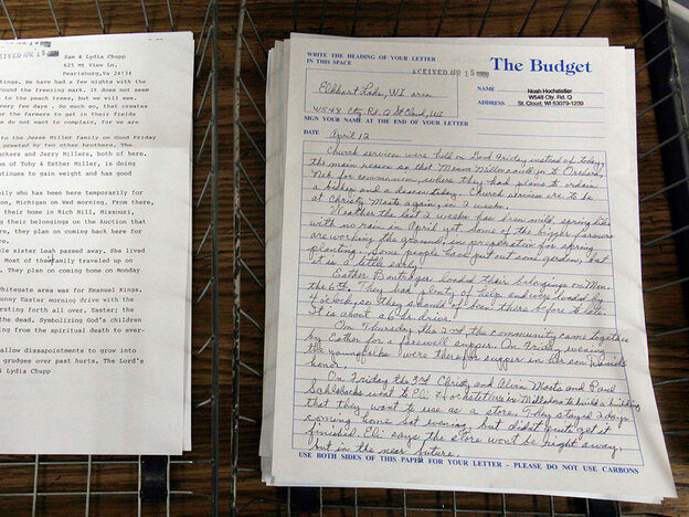 Articles sent in from various Amish communities in the country are placed in baskets before being entered into the computer system.