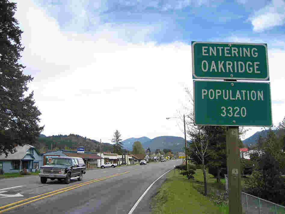 Sign for Oakridge, Oregon. Population: 3,320