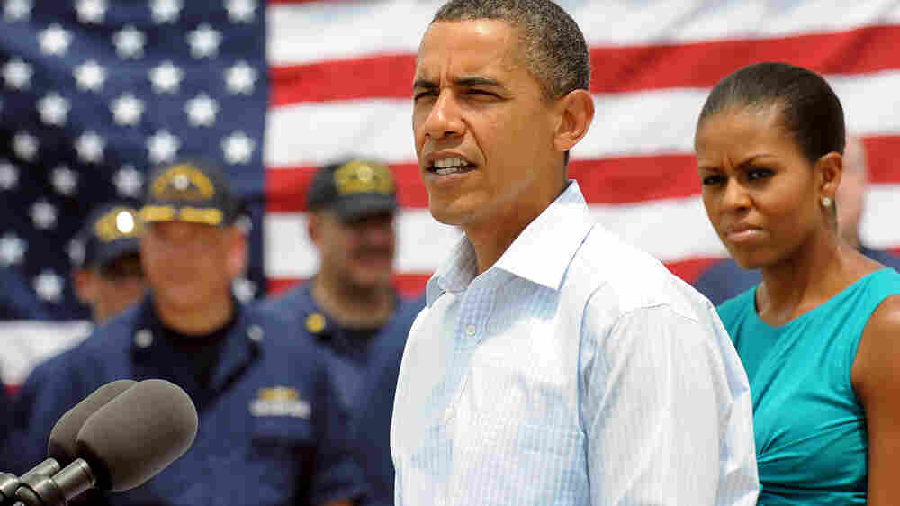 President Obama speaks at the U.S. Coast Guard Panama City District Office in Panama City, Fla.