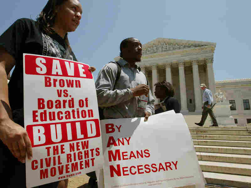 Supporters of affirmative action rallied in front the Supreme Court after the ruling on the use of a