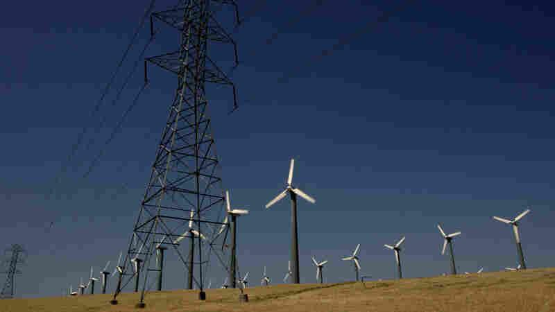 Wind turbines at Altamont Pass wind farm, Byron, Calif.