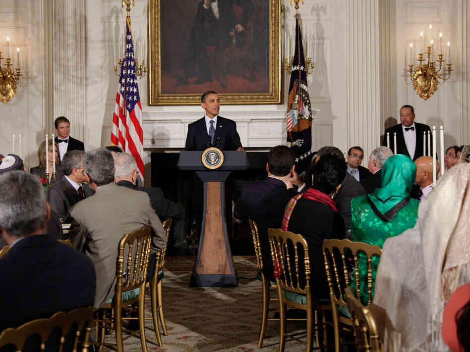 President Obama spoke of Muslims' right to have a center near ground zero at an Iftar dinner.