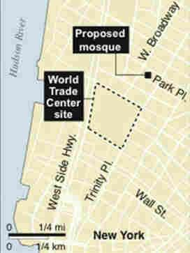 The proposed location of an Islamic center in lower Manhattan.