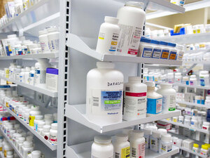 Bottles of drugs fill shelves at the storeroom of Kohll's Pharmacy & Homecare in Omaha, Neb.