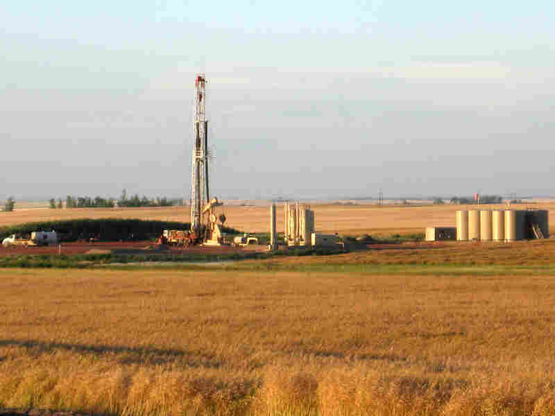 An oil drilling rig stands amid a  farmer's field near Stanley, N.D.