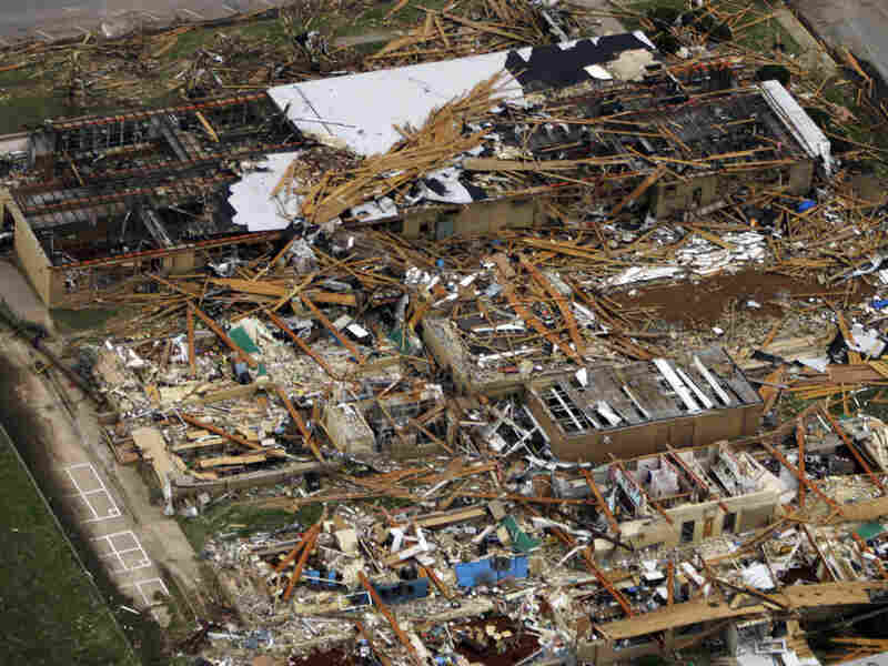 A school reduced to rubble by a tornado in Greensburg, Kan., on May 5, 2007.