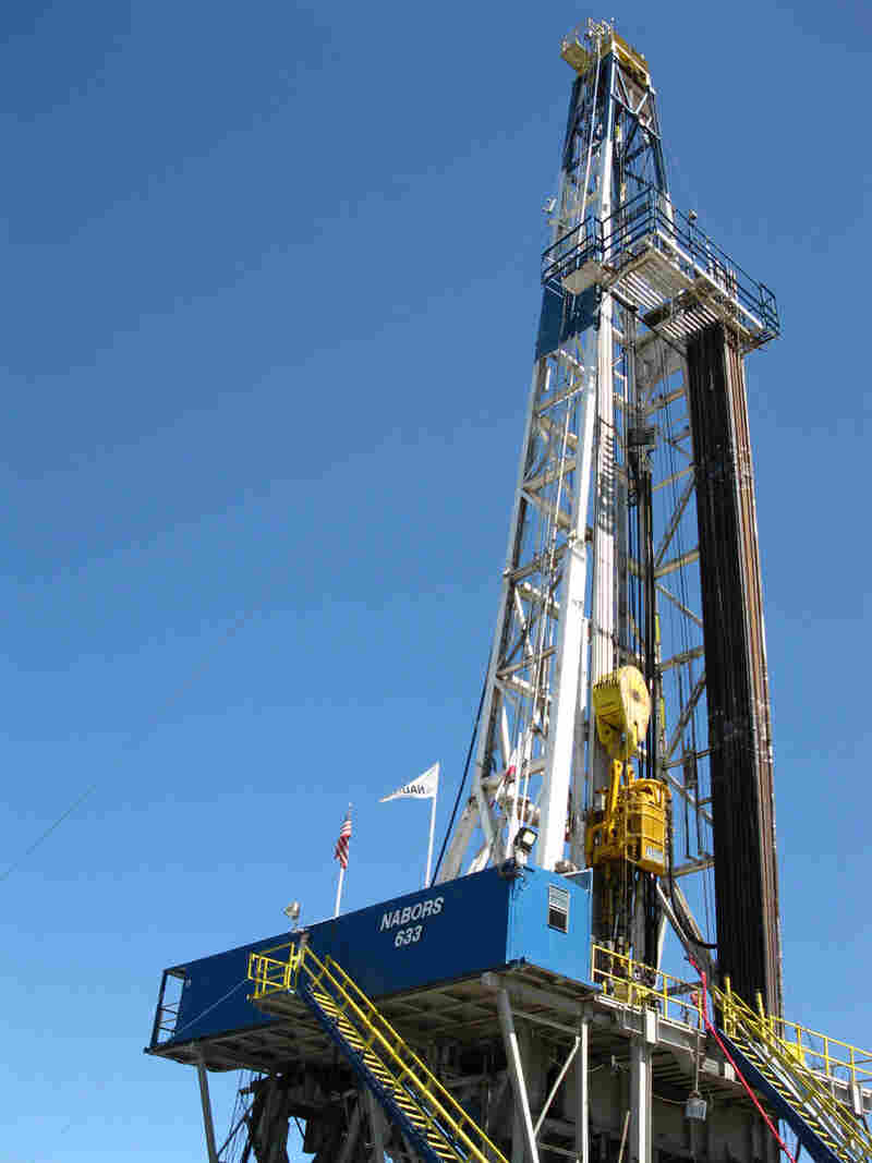 A geothermal drilling rig at a California demonstration well