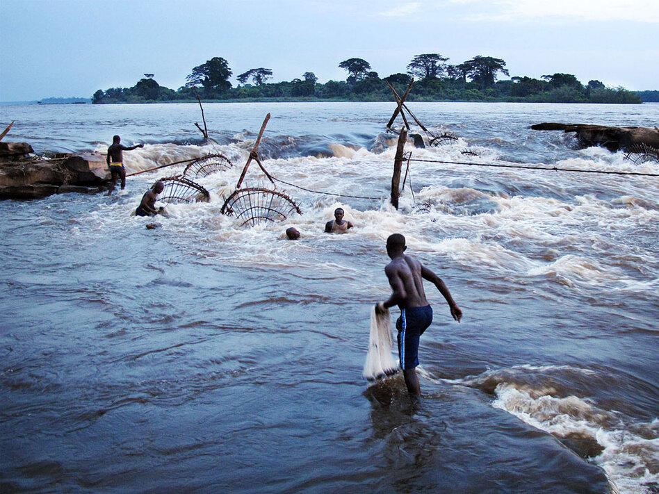 A fisherman prepares to cast a net into the rapids at Stanley Falls near Kisangani on the Congo River. (Emery Makumeno for NPR)