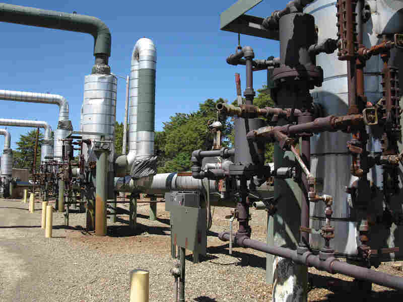 Pipes at The Geysers geothermal plant in California