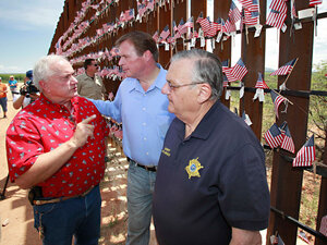 J.D. Hayworth (center) with Arizona state Sen. Russell Pearce and Maricopa Sheriff Jo