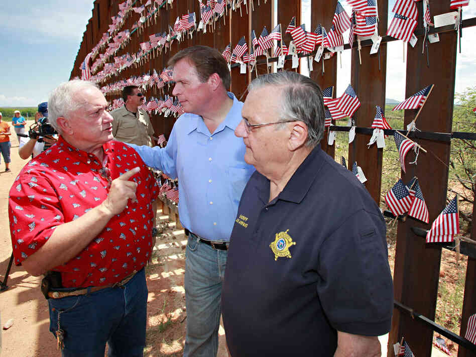 J.D. Hayworth (center) with Arizona state Sen. Russell Pearce and Maricopa Sheriff Joe Arpaio.