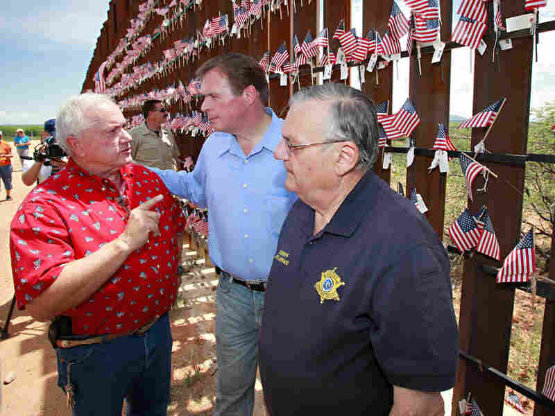 J.D. Hayworth (center) with Arizona state Sen. Russell Pearce and Maricopa Sheriff Joe Arpaio.
