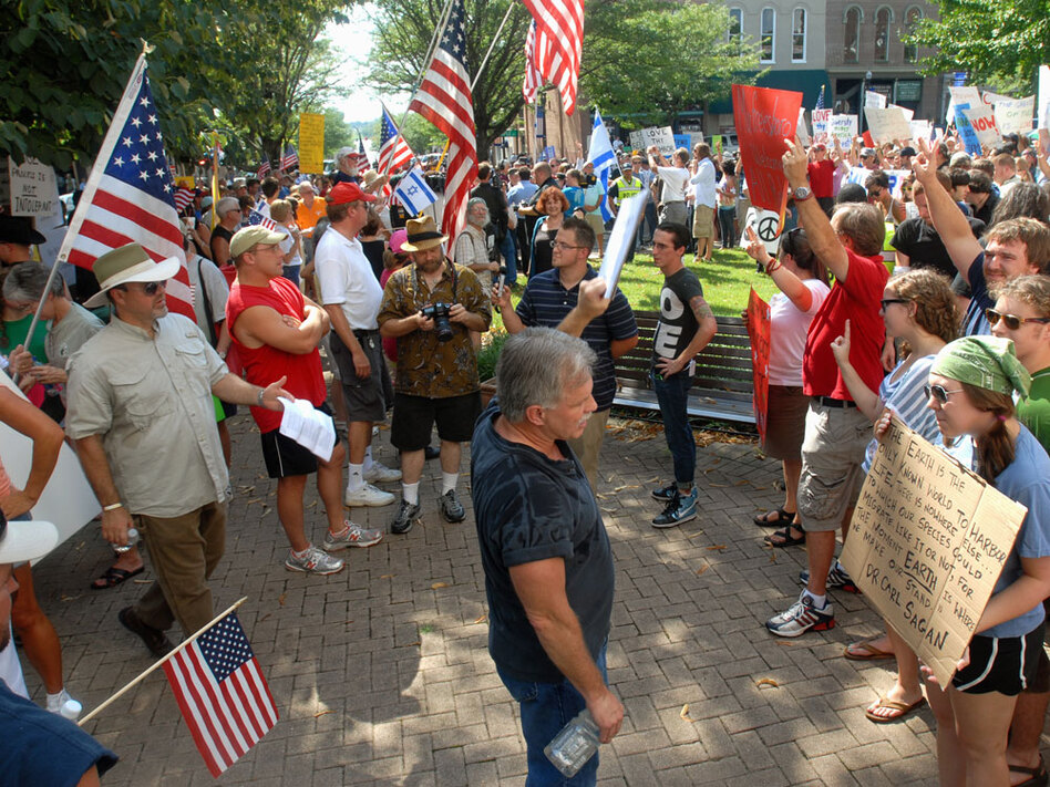 Protesters shout at each other during a demonstration about a planned mosque in Tennessee.