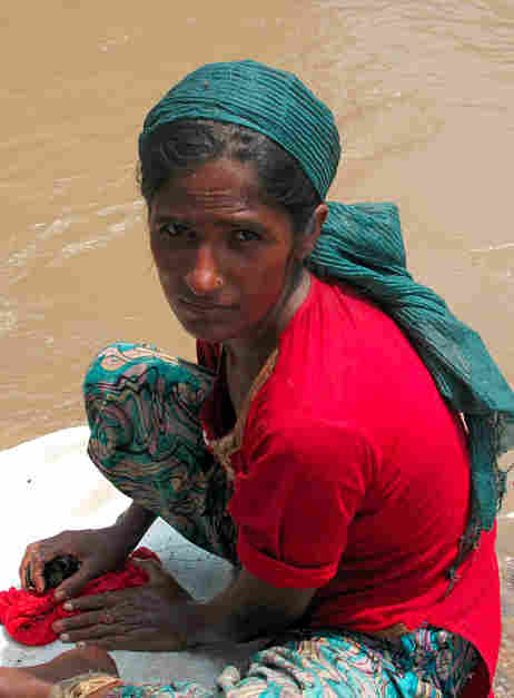 Tasleem Mai, 25, was washed out of her home near Muzaffargarh.