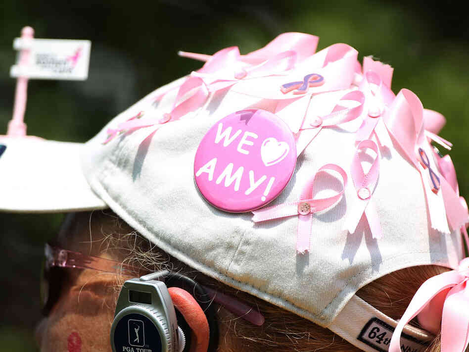 A fan shows support for Amy Mickelson (who has battled breast cancer), wife of golfer Phil Mickelson