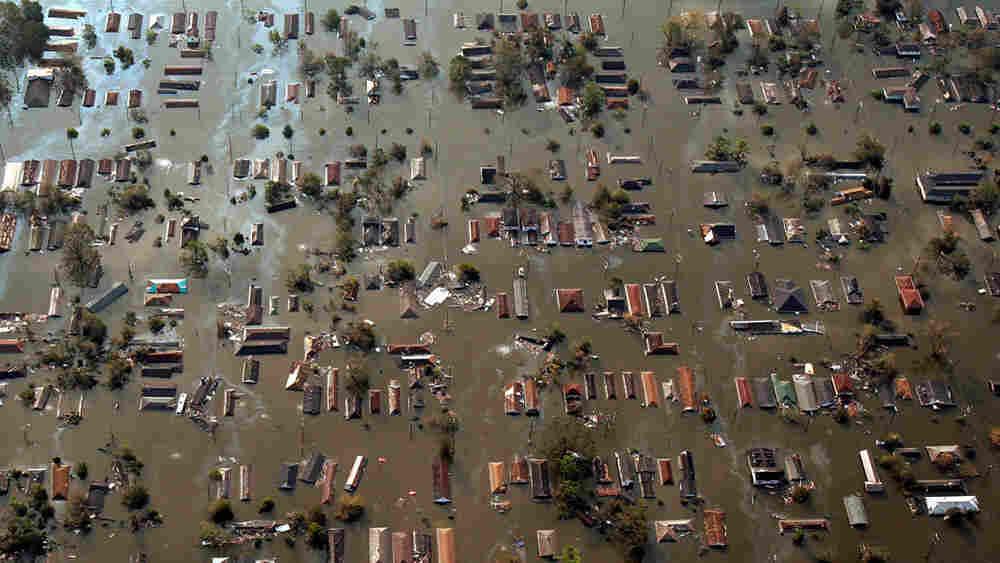 An aerial view of New Orleans following Hurricane Katrina.