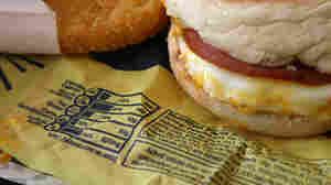 Nutritional information is printed on the wrapper of a McDonald's Egg McMuffin.