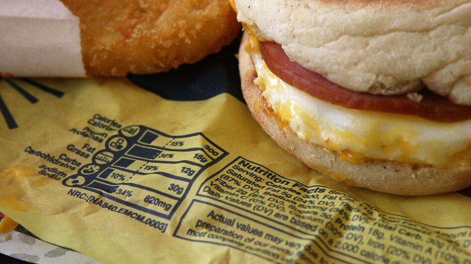 Nutritional information is printed on the wrapper of a McDonald's Egg McMuffin. (Getty Images)