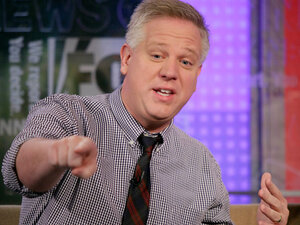 """Glenn Beck, on the set of ''Fox & Friends"""" in May 18, 2010."""