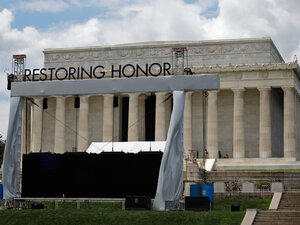 """The stage is being set for Glenn Beck's """"Restoring Honor"""" rally at the Lincoln Memorial."""
