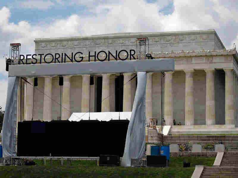 "The stage is being set for Glenn Beck's ""Restoring Honor"" rally at the Lincoln Memorial."