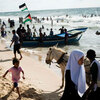 Palestinians enjoy the Mediterranean Sea at a Hamas-run beach club in Gaza City