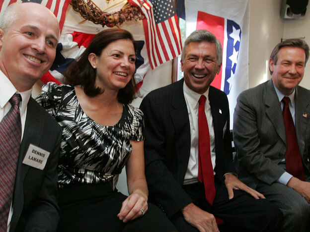 Left to right: New Hampshire Republican Senate hopefuls Dennis Lamare, Kelly Ayotte, Jim Bender and Ovide Lamontagne before a candidates forum in Barnstead, N.H., on Aug. 17.