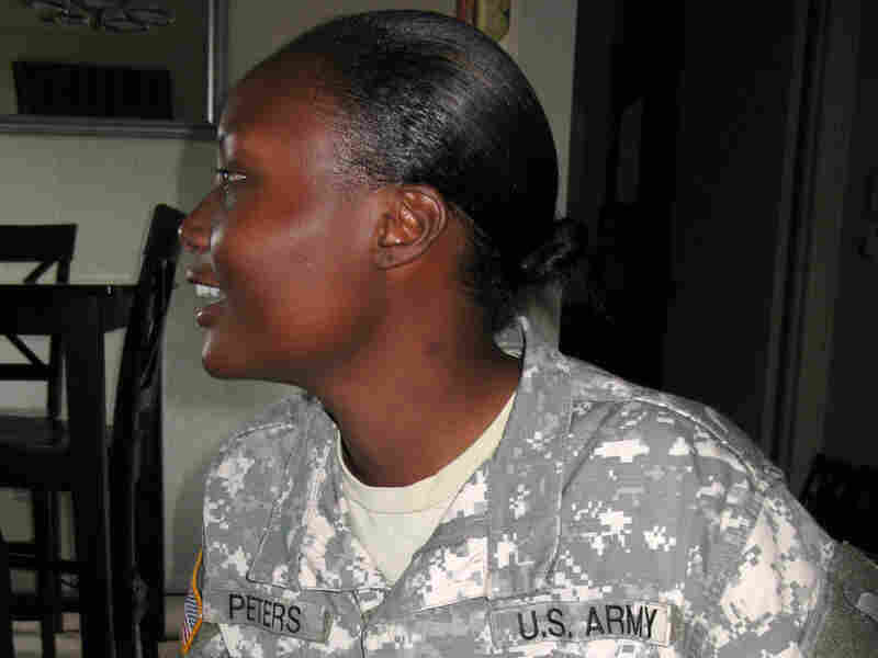 Sgt. Josie Peters sits in her apartment in Texas, off post